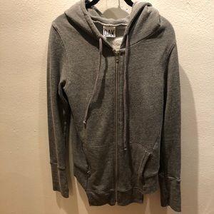 OAK Brooklyn Gray Asymmetrical hem zip up hoodie